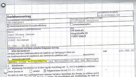 Darlehensvertrag VRBank Nord zum Neubau einer Pultdachhalle